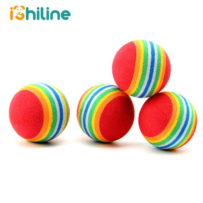 10 Ad Rainbow 3.5cm Kedi Oyuncak Ball Etkileşimli Kedi Oyuncak Çiğneme Çıngırak Çizilmeye EVA Topu Eğitim Pet Malzemeleri oyna