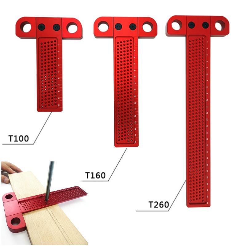 Holzverarbeitung Scribe 260mm T-Art Lineal Loch Ritzen Spur Aluminium Gekreuzte Füße durchgestri- Holzbearbeitung Werkzeug Werkzeugvermessung