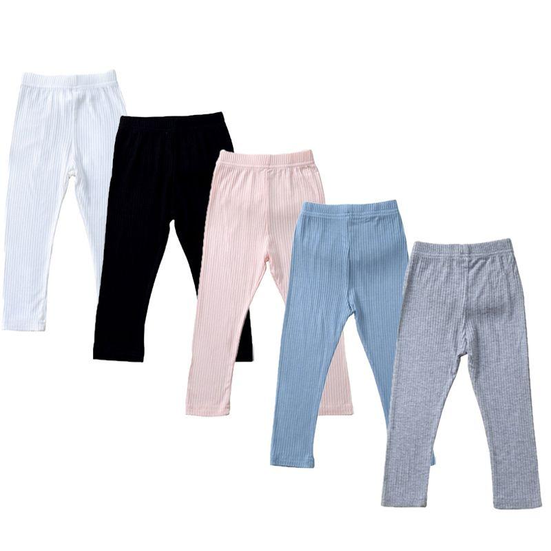 La caída del otoño Solid niñas pantalones de color clásico del niño de las polainas polainas del bebé de los niños de las polainas para niños Pantalones elástico 9M-4T