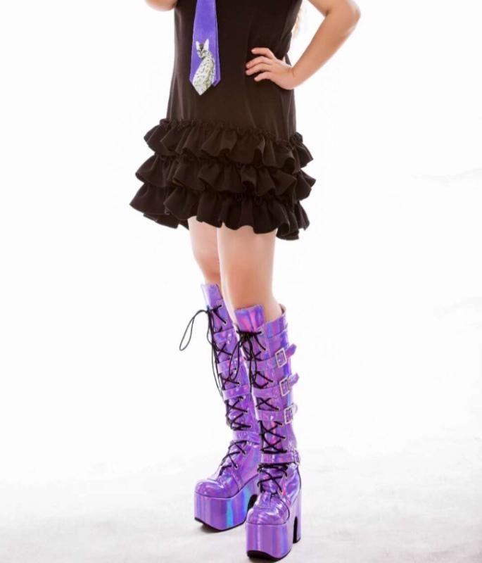 Plataforma de alta colorido Joelho de alta Botas Lolita Cosplay Mostrar Buckle Strape Lace-up Coxa botas exclusivo personalizado