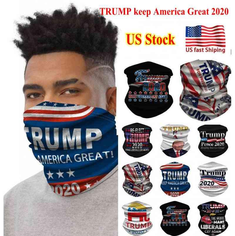 US STOCK Cycling Masks Scarf Unisex Bandana Motorcycle Scarves Headscarf Neck Face Mask Outdoor Trump Keep America Great 2020 DHL Ship FY915