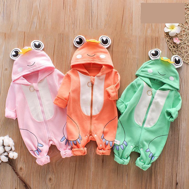 2020 nuovo autunno Neonato unisex vestiti carini maniche lunghe pagliaccetto animale Custome per il bambino di colore rosa della rana Zipper Climbing Pajama