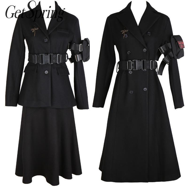 Escudo GetSpring las mujeres de lana de manga larga doble de pecho chaqueta de lana de invierno todas correspondan Negro flojo largo abrigo de invierno otoño