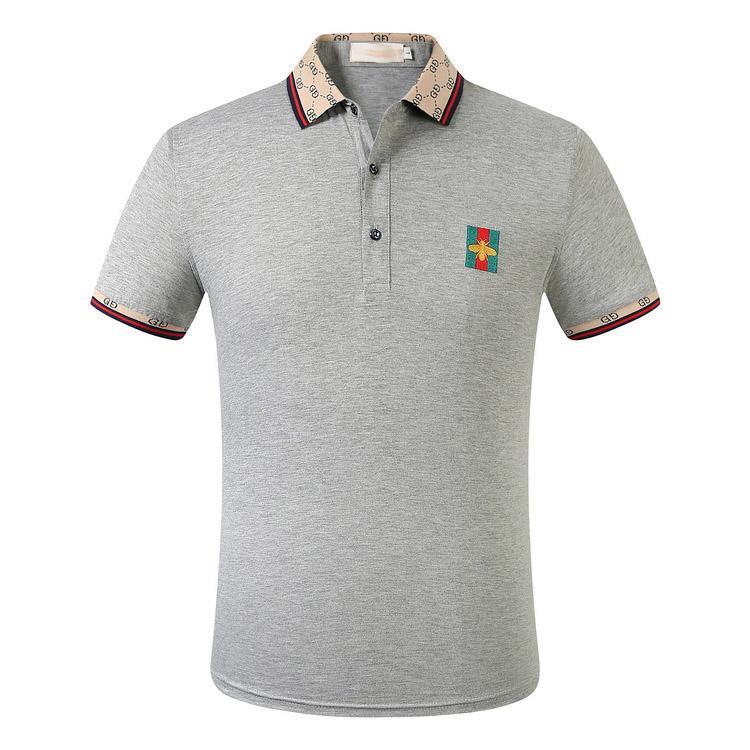 2020 Erkekler marka tasarımcısı polo gömlek nakış küçük sır arı gündelik polo gömlek moda Medusa yüksek sokak yaka lüks polo gömlek