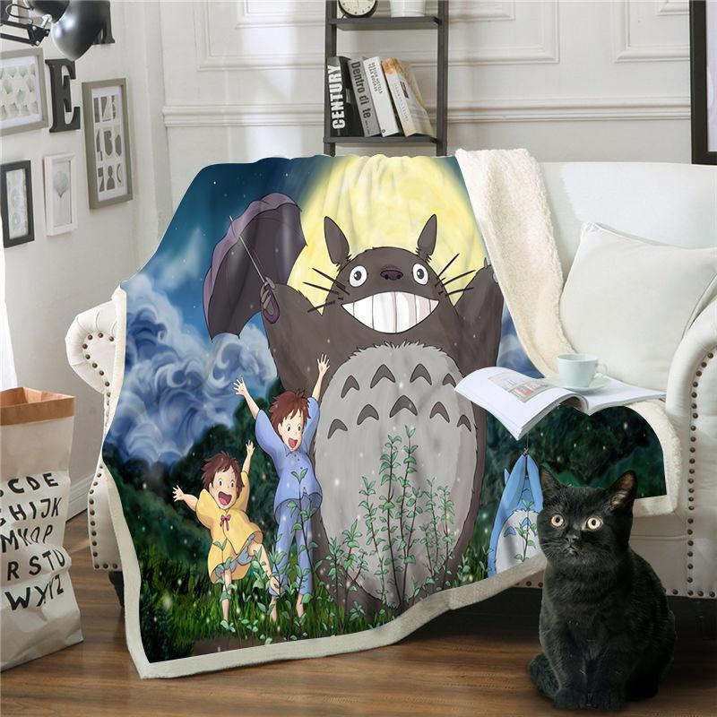 Anime Totoro 3D Printed Sherpa Blanket Couch Quilt Cover Travel Bedding Outlet Velvet Plush Throw Fleece Blanket Bedspread