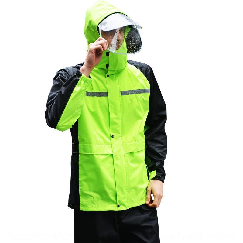 Wwwry fluorescente verde impermeabile protettivo da moto e pioggia pantaloni tuta scissione adulto moto elettrica a cavallo della moda riflettente di protezione