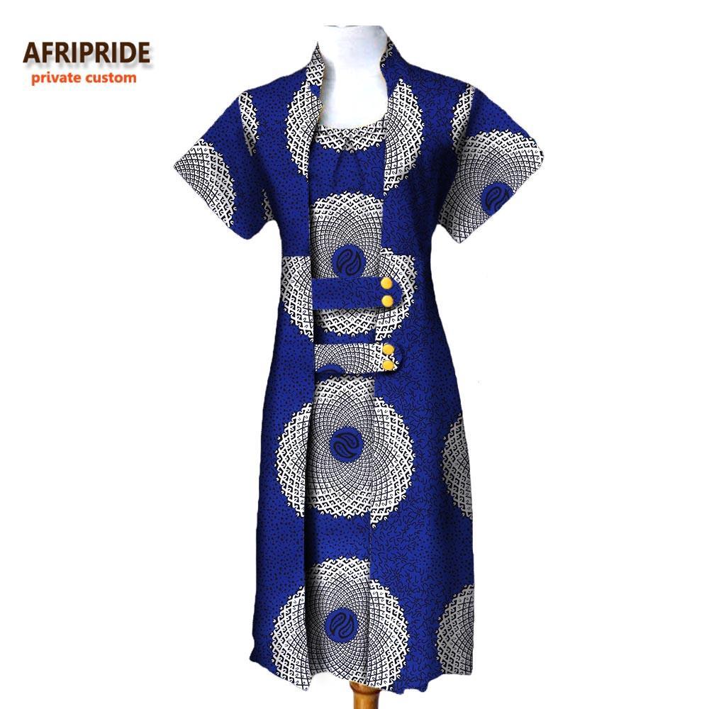 Африканская осень 2 штуки костюм для женщины афривористый с коротким рукавом доля пальто длины + без рукавов длиной o-шеи платье a722636