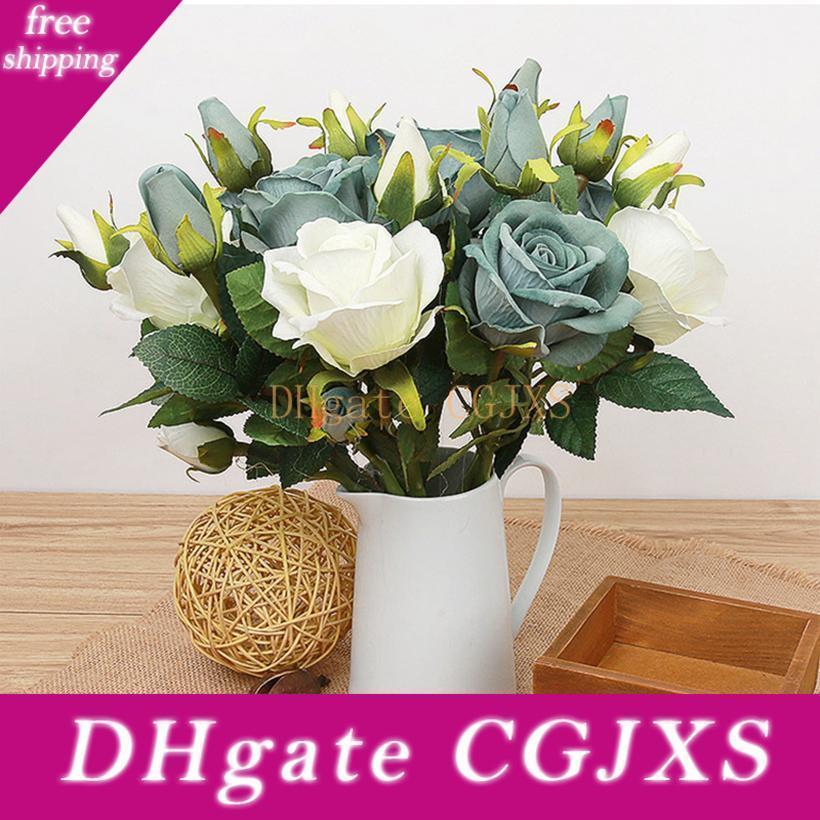 Nuevo diseño de flores artificiales barato Rose plantas de interior decoración de la boda del ramo de Rose Simulación Para nupcial tacto verdadero del látex Flores