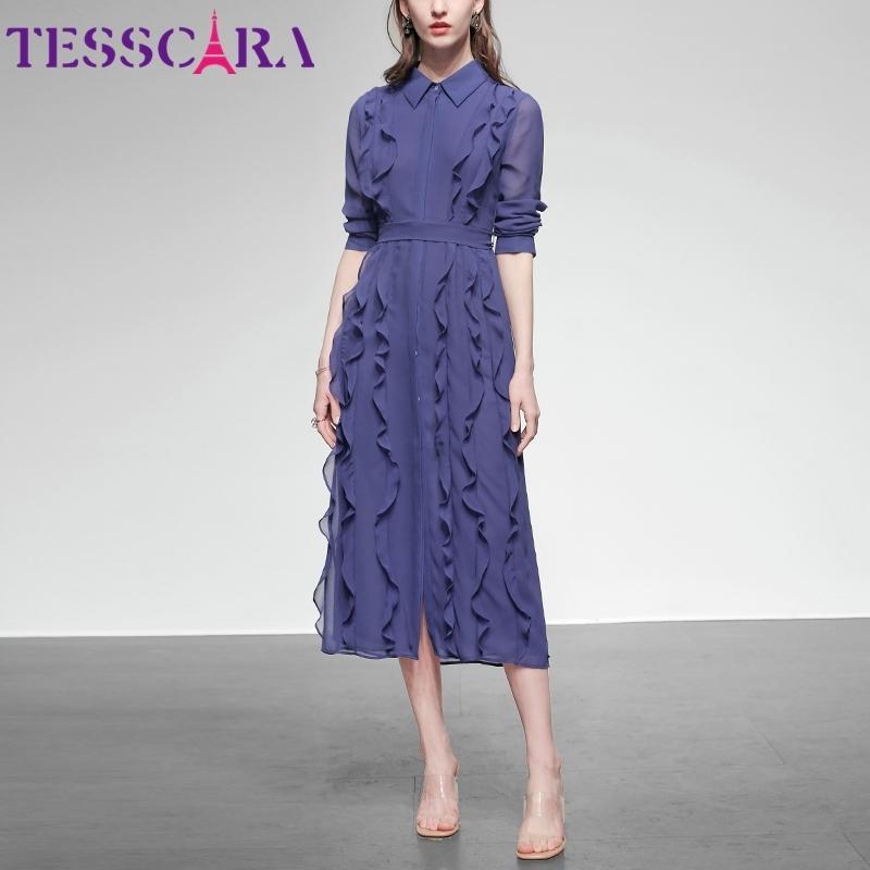 TESSCARA mujeres de primavera y verano elegante camisa de vestido de la gasa de oficina de alta calidad de partido de coctel de Femme Robe volante diseñador Vestidos 200928