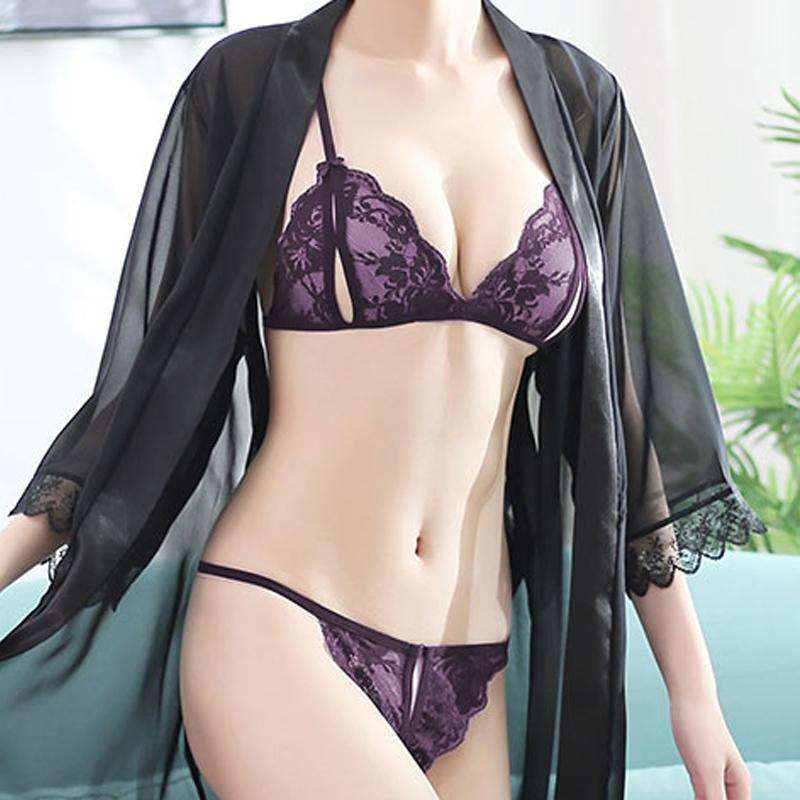 Tanga mujeres 2pcs del cordón atractivo caliente 2020 eróticas entrepierna abierta transparente resumen la ropa interior G-secuencia de Arco femenino de los pantalones de la pornografía Thong