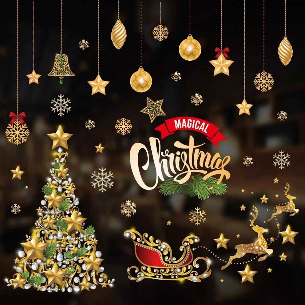 Fenêtre d'or de Noël autocollants Joyeux Noël 2019 Décorations pour la maison Décorations d'arbre Père Noël Nouvel An 2020 de Noël Décor sMy7 #