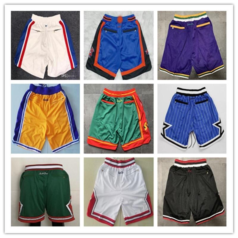 Costurado Mens Basquete Apenas Don Bolso Shorts Hip-Hop Todos os Equipes da Cidade Nome Anual ID Tags Mitchell Ness Sweatpants Sport Fa