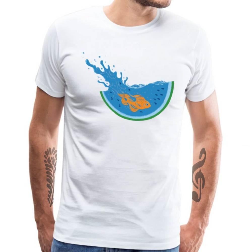Della novità della maglietta anguria immersione uomini pesce stampa pesci rossi frutti magliette girocollo in cotone estate adulto studente tshirt idoneità cime 2020 alta