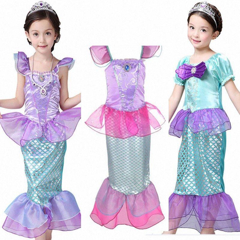 Çocuk Çocuk Kız Prenses Mermaid Giydir Ariel Jenerik Elbise Parti Kostüm Cosplay Halloween Giyim HH7-190 Avys #