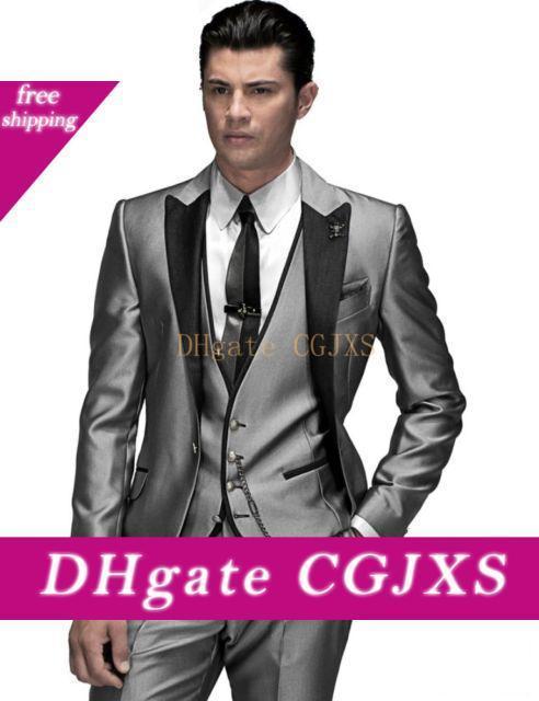 Un botón de plata gris de la boda de los trajes de los hombres trajes de tres piezas novio esmoquin Slim Fit Hombres Partido padrinos de boda (chaqueta y pantalones chaleco corbata) J850