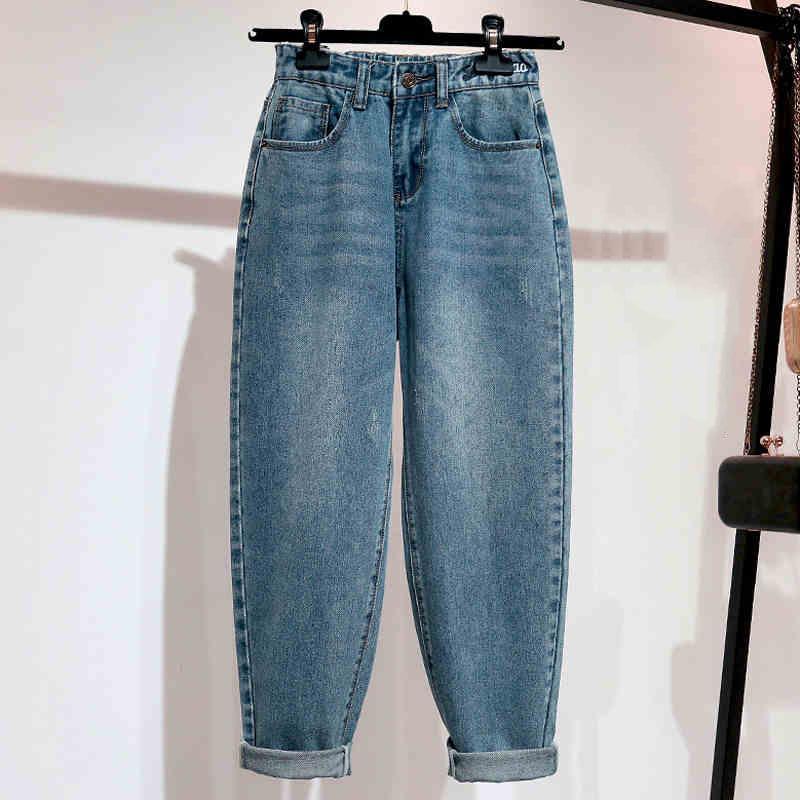 Gestickte Jeans Frau mit hohen Taille plus Größe loser Ganzkörper Mom Jeans Retro Blau Harem-Denim-Hosen CX200821