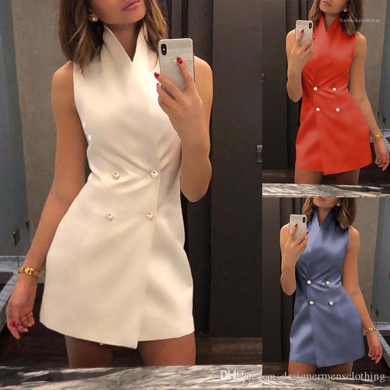 Linea colore solido abiti senza maniche sexy stand Sollar Abbigliamento moda femminile casuale capi di estate donne A