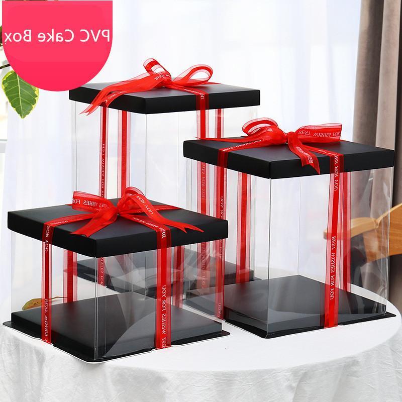 Бумага / пвх прозрачный Empty 2020 Прямоугольник подарок новый для торта Box Упаковка Контейнеры цветок Упаковка свадьба / Рождество благосклонности Zkc5