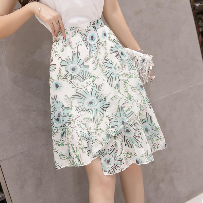 wWvBE en mousseline de soie A- ligne de robe sirène en queue de poisson d'été des femmes 2020 nouvelle jupe à volants floral en queue de poisson irrégulière A- skir couvert de hip-robe de ligne