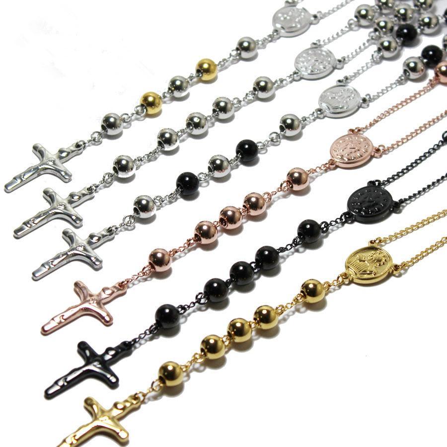 حار مبيعات الوردية الخرز مجوهرات الصليب يسوع قلادة المعلقات الفولاذ المقاوم للصدأ رجال نساء 3 ألوان الذهب Rosed الفضة 4MM / 6MM / 8MM