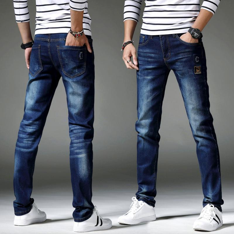Homens Jeans rasgados 2020 Primavera Casual Hip Hop mediana cintura Denim Trousers de Moda de Nova skinny slim Jeans Reta motociclista