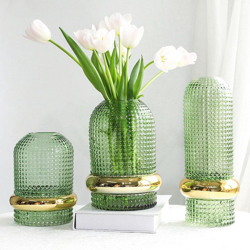 مكتب حامل الشمال شفاف أخضر الذهب حافة الزجاج زهرة زهرية الرئيسية الديكور الحديثة زهرة زهرية النبات المائية ديكور الغرفة