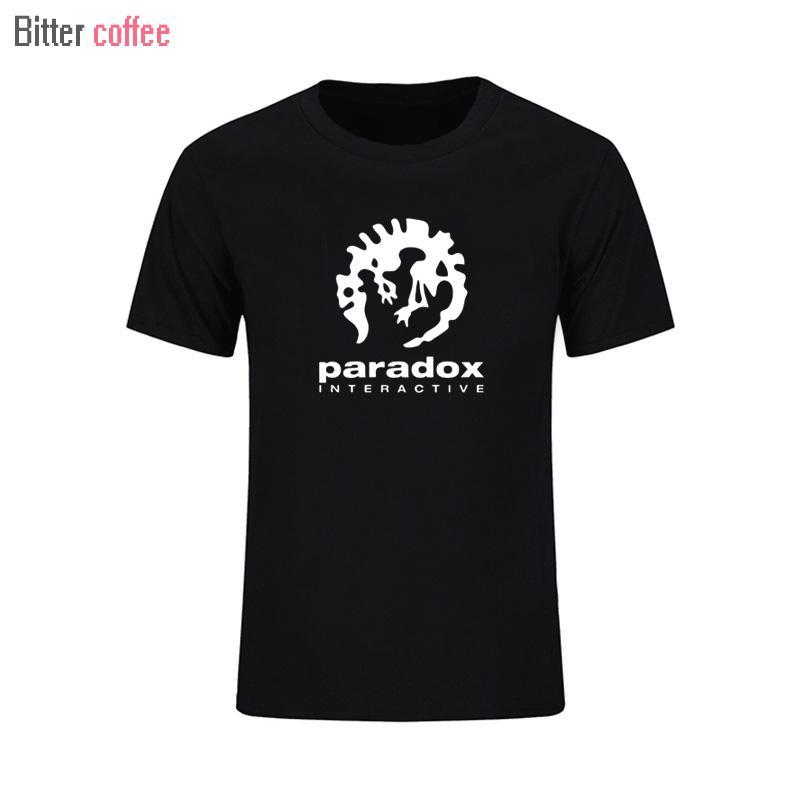 YENİ Paradox Interactive Erkek Moda Spor tişört Kısa Kollu Oyuncu O-boyun AB boyutu Siyah Beyaz t Gömlek