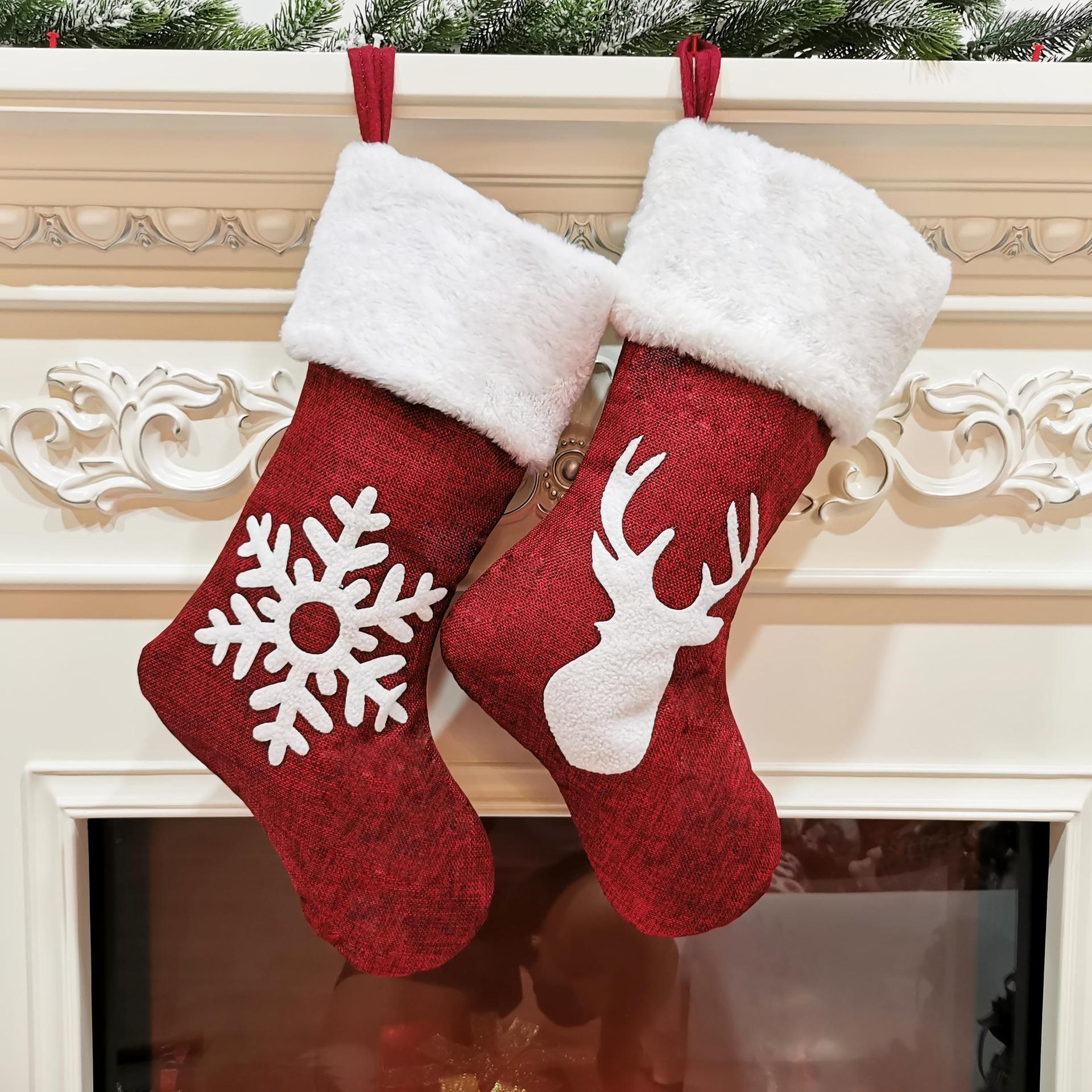 4 estilo de Navidad ornamento partido árboles de navidad Medias Decoraciones de Santa Navidad que almacena el caramelo Calcetines Bolsas de Navidad Bolsa HWE918