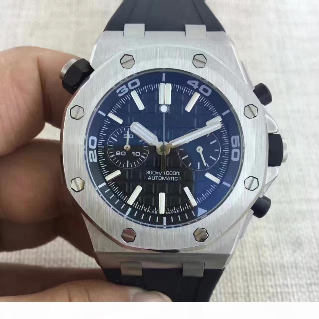 2019 relojes de moda de los hombres Negro Especial Acero Marcar la goma de Oro Acero automático 15710ST hombres mecánicos del reloj para hombre Relojes