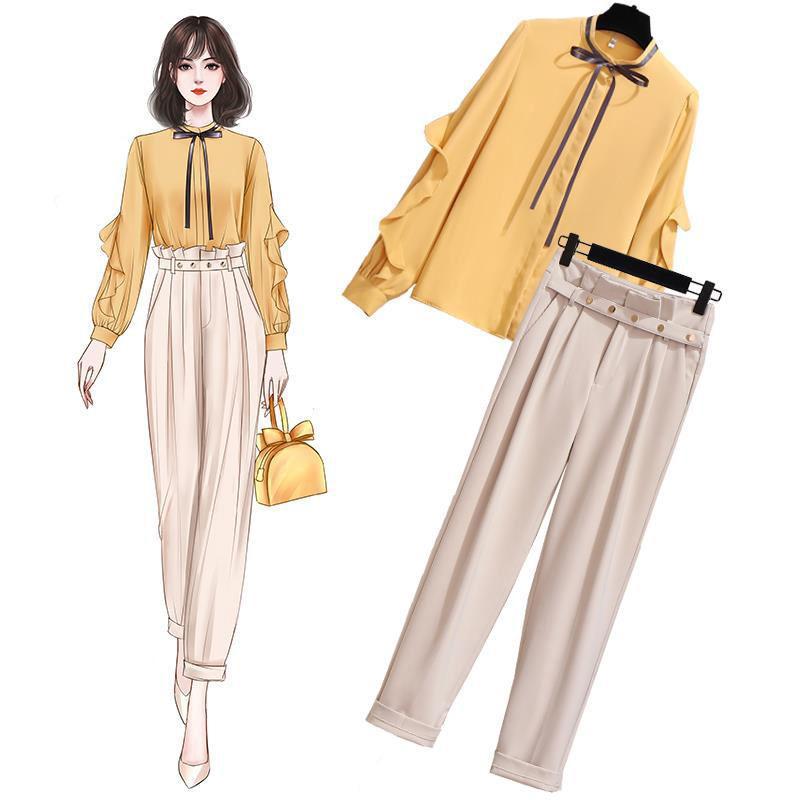 Tuta da donna Donna 2 pezzi Set Set giallo Camicetta Khaki Pantaloni da Kaki Vestito Pantaloni a vita alta
