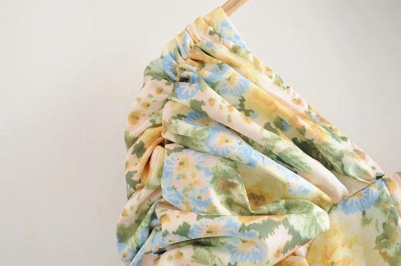 tyK03 M5619-vent femmes Porter 2020 été nouvelle chemise à col d'une ligne col carré imprimé chemise à manches plissée pour les femmes