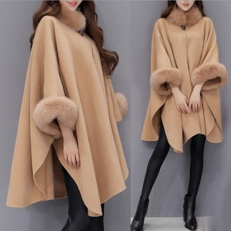 yp1Fo Winter new Korean style fox fur collar mid-length wool woolen elegant Cape coat Cape shawl coat for women