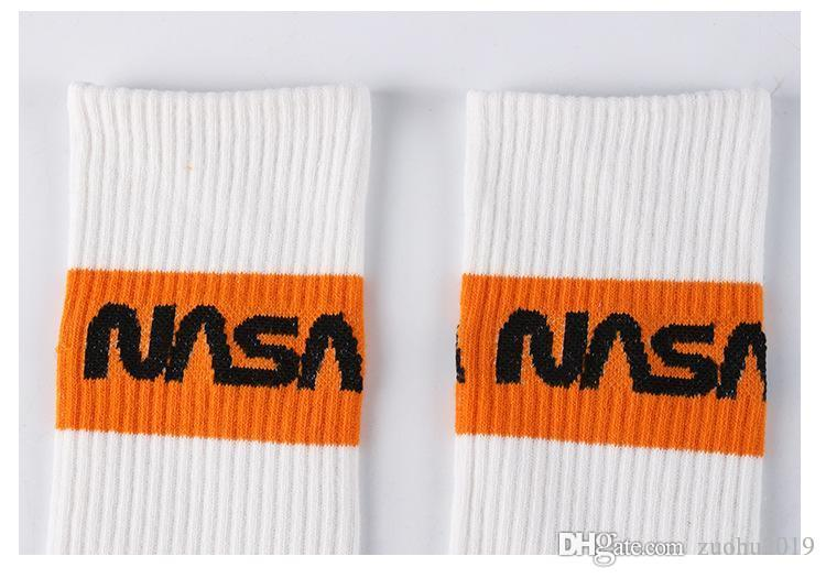 erkekler kadın unisex hip hop streetwear spor çorap 3pairs / lot NAS A çorap beyaz renk moda uzun çorap