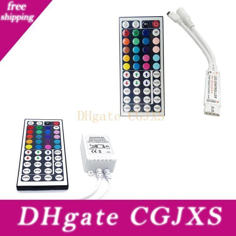 Venta al por mayor -Dc12v 6a Mini 44key Ir mando a distancia para 5050 3528 SMD RGB LED Franja envío