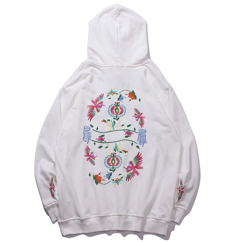 3D Embroidery Chinese Phoenix Men Hoodies Fashion Hip Hop Sweatshirts Homme Coats Hooded Male Man Hoodies