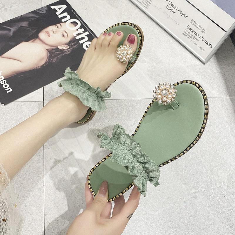 Богемный стиль пляжной обуви Женские летние Открытые Повседневные Сандалии Мокасины Тапочки скольжение ONS обуви Мода Pearl Flat Тапочки # 0702 cM4Y #