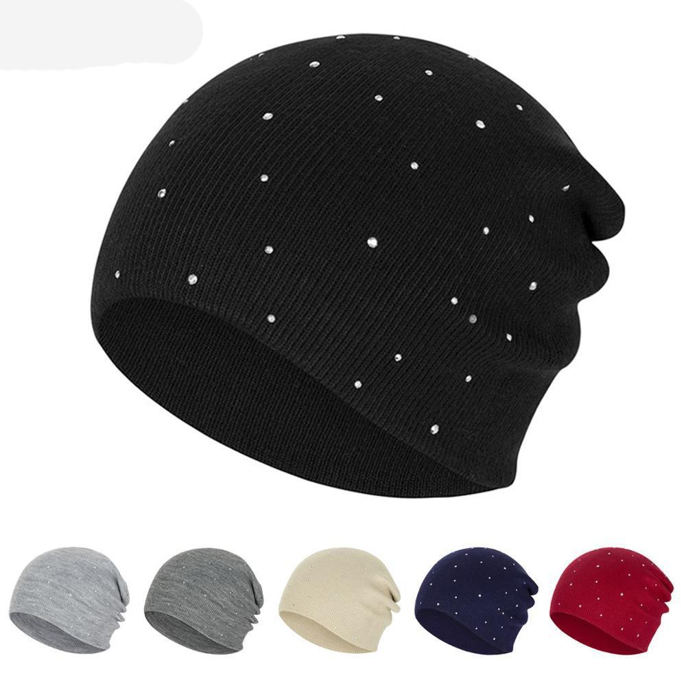 Frauen-Herbst-Winter-Hut Fest Farbe gestrickte Mützen Hut Strass Mode Skullies Strickmütze für Lady Designer Motorhaube
