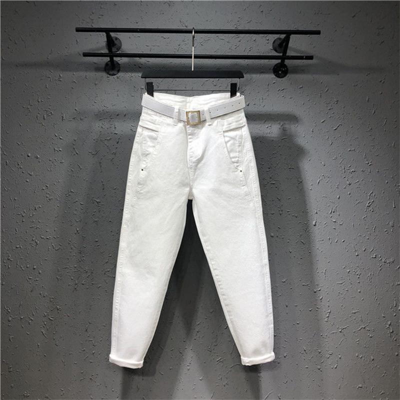 2020 весна лето новых моды для женщин Свободного Свободных высокой талии белых джинсов Femme Хлопок джинсовой пят шаровары S984 CX200815