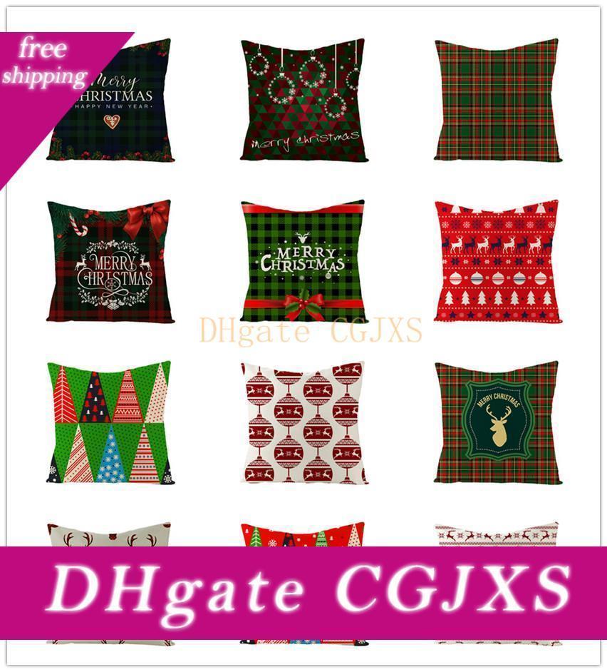 39 Styles Decorações do Natal fronha manta Elk Urso Ptinted Throw Pillow Covers xams Sofá Capa de Almofada partido Home Pillowcase A05