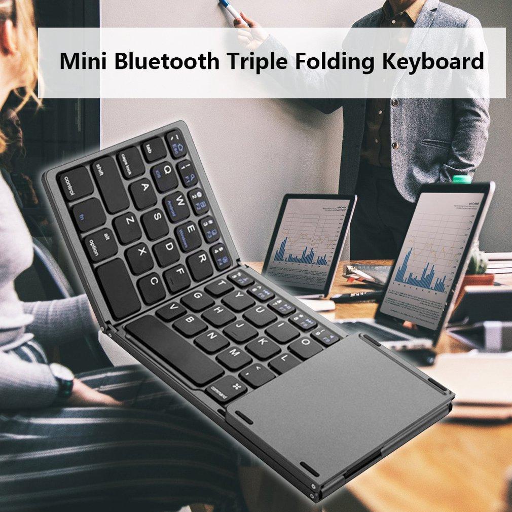 Mini Compact Triplo Folding teclado portátil fresco Wireless Phone Tablet Teclado Com mouse Touchpad GOTA DE ENVIO