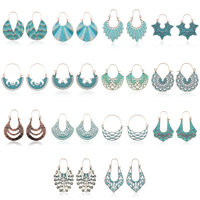 14 Pairs Dangle Earring Jewelry Sets Vintage Ethnic Style Women Accessories Handmade Weave Carved Flower Basket Drop Earrings Set