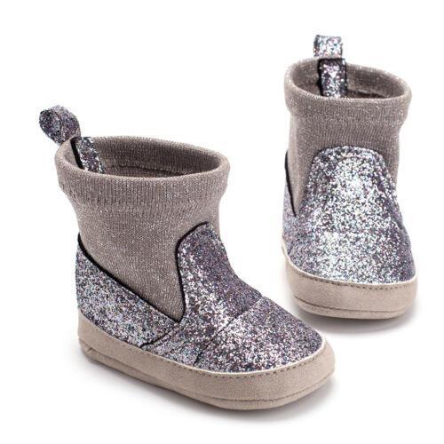 Девочки Мальчики блестками Блестки Bling Boots малышей Мягкие Подошва шпаргалки Обувь для новорожденных Nowboen принцессы пэчворка Boots 0-18 месяцев