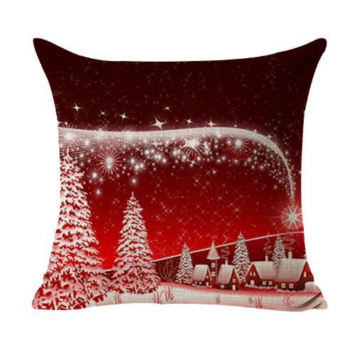 Eco-Friendly sofá do Natal Capa de Almofada Decoração Praça Pillowcase Impresso da árvore de presente Home Decor linho Capa Lance fronha