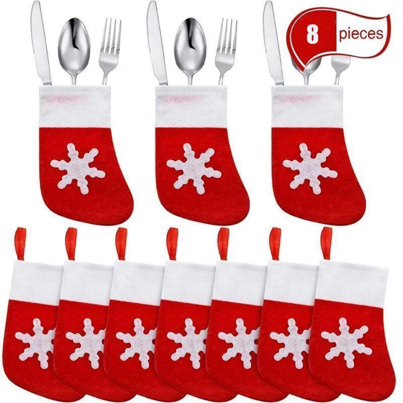 8 piezas mini medias de la Navidad Cubiertos titular Almacenamiento de Herramientas decoración Cuchillo Cuchara Tenedor Bolsa de Navidad decorativo del hogar Vajilla cubierta