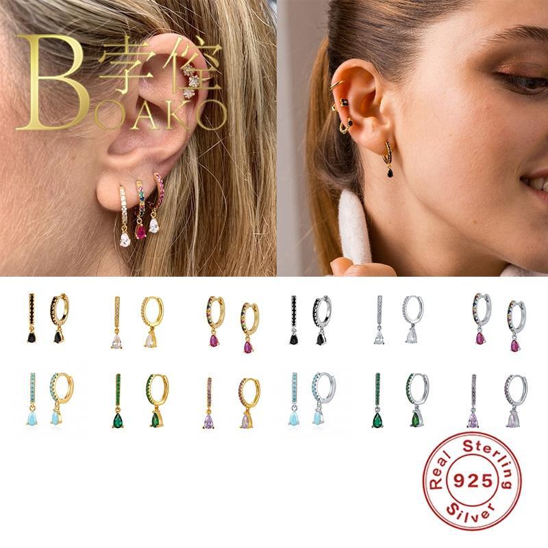 BOAKO argento 925 orecchini a cerchio per le donne Orecchini di goccia dei cerchi colorati zircone Turchese Earings Pendientes gioielli di lusso