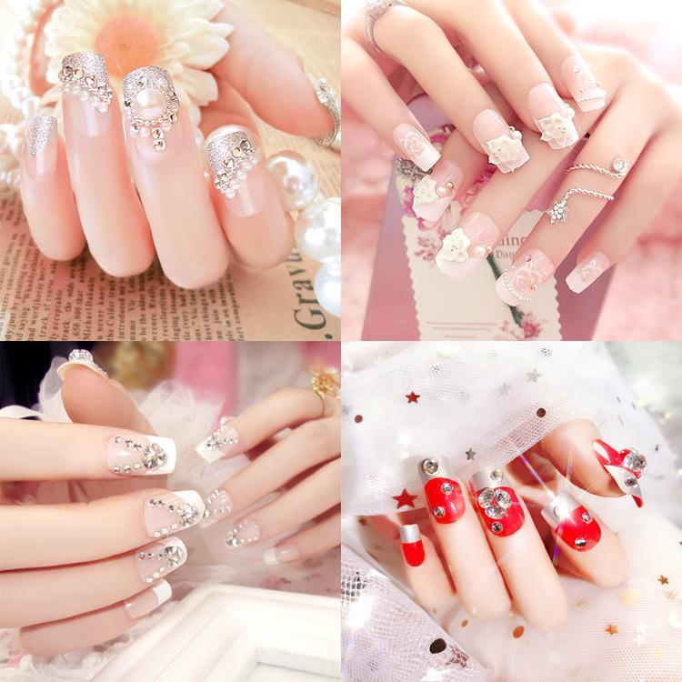24PCS lange Künstliche Nägel Wedding Nail Dekoration Shiny Strass Glitter Blume Press On False Nails Tipps