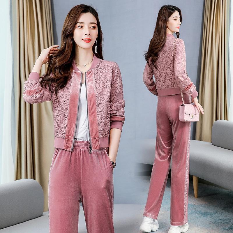 Symmy veludo Casual primavera terno das mulheres e no Outono de 2020 novas calças slim crochê costura ouro 2IVxw rendas calças moda rendas de duas peças set