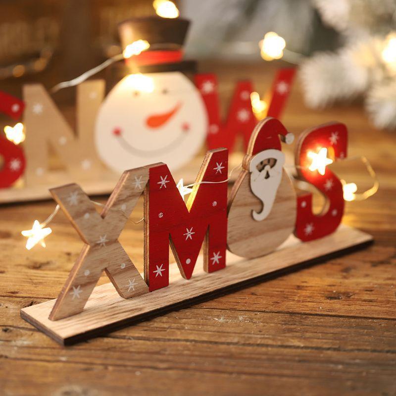 Lettres autoportantes en bois signe Père Noël bonhomme de neige flocons de neige de fête de Noël Accueil Décorations bureau Ornement Cadeau de Noël