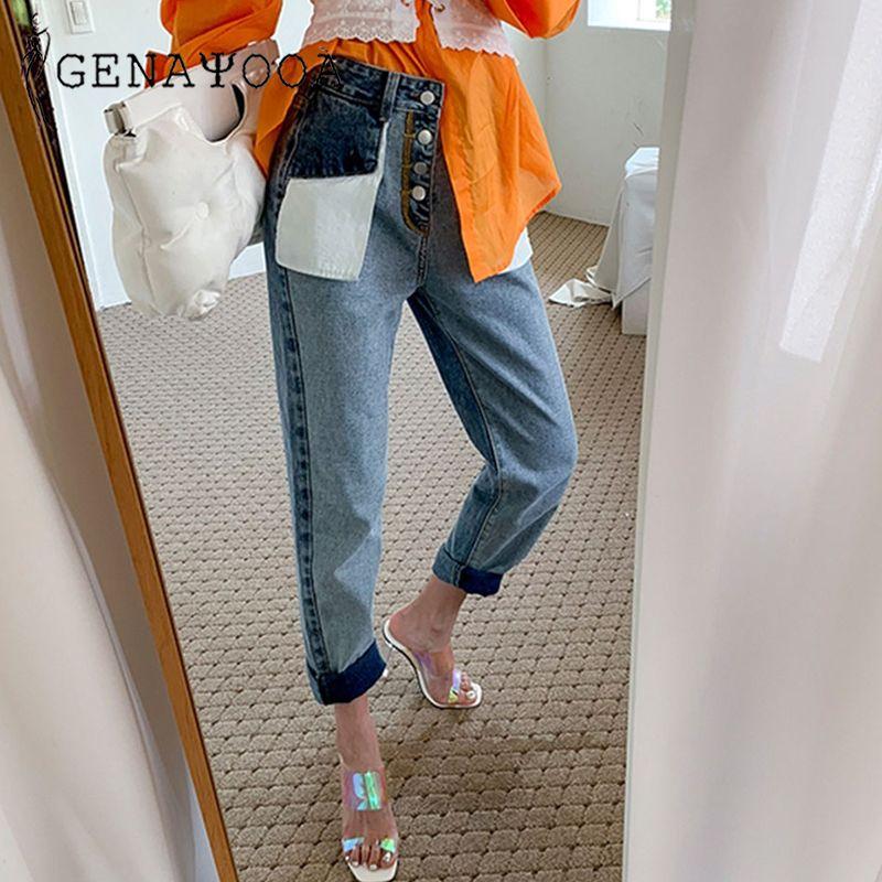 Genayooa Jeans Woman Cotton Ladies Vintage Loose Patchwork Streetwear Brand Women Boyfriends Jeans High Waist Pants Befree Denim 200922