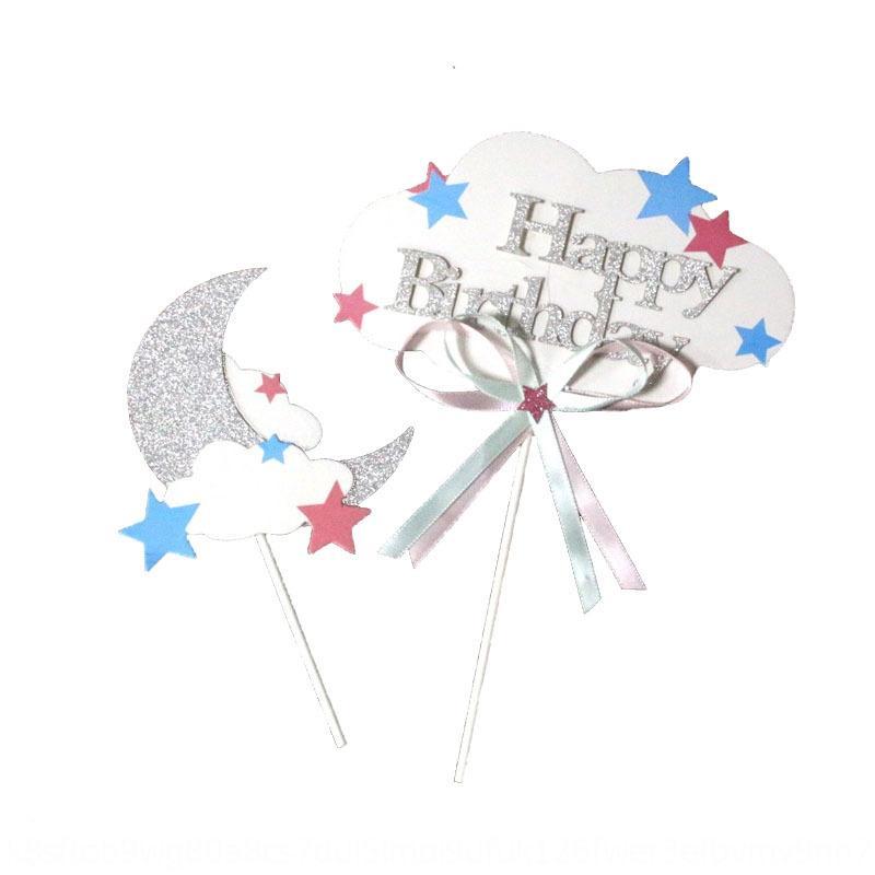 Los derechos de autor estrella de la luna combinación de decoración plug-in de bandera hornear suministros postre al horno vestir decoración de los derechos de autor estrella combinación luna